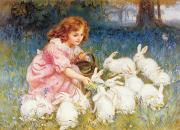 Pink Dress Prints - Feeding the Rabbits Print by Frederick Morgan