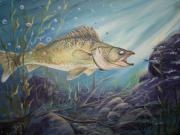 Fish Underwater Paintings - Feeding time by Wendy Smith