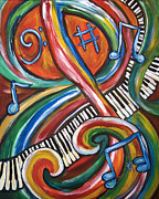 Music Score Paintings - Feel Tha Jazz by Angel Turner Dyke