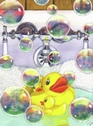 Bubbles Posters - Feelin Ducky Poster by Catherine G McElroy