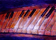Red Band Painting Originals - Feeling the Blues on Piano in Magenta Orange Red in D Major with Black and White Keys of Music by M Zimmerman MendyZ