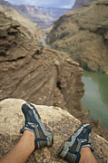 Grand Canyon Scenes Prints - Feet Shod In River Shoes On An Overlook Print by Bobby Model