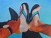 Flip-flops Paintings - Feet Sunning by Gary Coleman