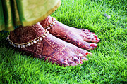 Photography Of Woman Framed Prints - Feet With Mehndi On Grass Framed Print by Athul Krishnan (www.athul.in)