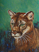 Wild Cats Paintings - Feline Alert by Margaret Saheed
