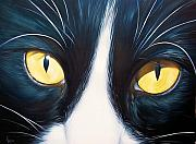 Close Up Painting Metal Prints - Feline face 2 Metal Print by Elena Kolotusha