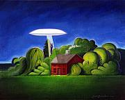 Feline Paintings - Feline UFO Abduction by John Deecken
