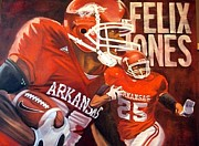 Razorbacks Paintings - Felix Jones by Jim Wetherington