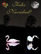 Flat Mixed Media Posters - Felix Navidad Lesvos Salt Flat Birds Merry Christmas Poster by Eric Kempson