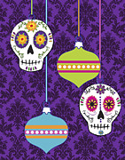 Damask Prints - Feliz Navidad Holiday Sugar Skulls Print by Tammy Wetzel