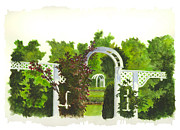 Rose Garden Paintings - Fellows Riverside Gardens - Mill Creek Park by Michael Vigliotti