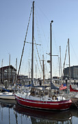 Docked Sailboats Prints - Fells Point Boatyard Print by Brendan Reals