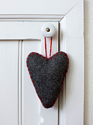 Banquet Prints - Felt Heart Shape Decoration Hanging On Handle Print by Bjurling, Hans