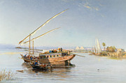Nile Paintings - Feluccas on the Nile by John Jnr Varley