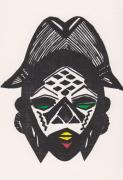 Tribes Drawings Framed Prints - Female Ancestral Mask of the Mpongue of the Congo Framed Print by Mia Alexander