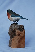 Bluebird Sculpture Metal Prints - Female Bluebird Metal Print by Betsy Popp
