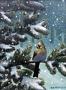 Winter Scene Painting Originals - Female Cardinal by Mark Mittlesteadt