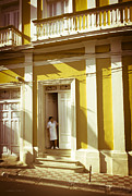 Housekeeper Framed Prints - Female Domestic in Doorway in Granada Nicaragua Framed Print by Gordon Wood