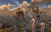 Flying Saucer Digital Art - Female Explorers Study Ancient Egyptian by Mark Stevenson