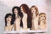 Wigs Posters - Female Faces Mannequin Heads Hair Wigs Poster by Kathy Fornal