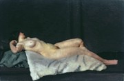 Reclining Paintings - Female Figure Lying on Her Back by Dora Carrington