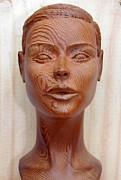 Wooden Sculptures Prints - Female Head Bust - Front View Print by Carlos Baez Barrueto