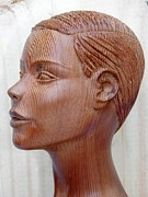 Wooden Sculptures Prints - Female Head Bust - Side View Print by Carlos Baez Barrueto