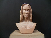 Wooden Sculptures Prints - Female Head Bust Print by Carlos Baez Barrueto