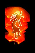 Lightffiti Framed Prints - Female Kokopelli Framed Print by Mark Bell