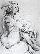 Austin Drawings - Female Model Sitting 2006 by Beverly Deutsch Adams