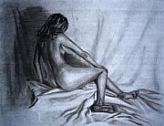 Cloth Drawings Posters - Female Nude Poster by Ashlee Terras