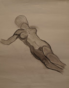 Oregon Drawings - Female Nude Drawing by Teri Schuster