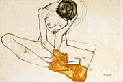 Naked Metal Prints - Female Nude Metal Print by Egon Schiele