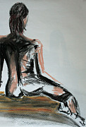 Nude Woman Drawings - Female nude by Julie Lueders
