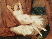 On Silk Paintings - Female Nude Reclining on a Divan by Eugene Delacroix