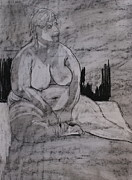Voluptuous Drawings Prints - Female nude seated Print by Joanne Claxton