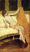  Drapery Paintings - Female Nude by Sir Lawrence Alma-Tadema