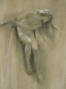 Girl Pastels Metal Prints - Female Nude Study  Metal Print by John Robert Dicksee