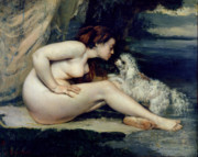 Woman Glass Posters - Female Nude with a Dog Poster by Gustave Courbet