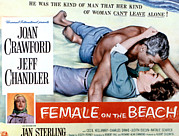 1955 Movies Prints - Female On The Beach, Jeff Chandler Print by Everett