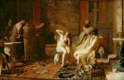 Oil Cat Paintings - Female Slaves Presented to Octavian by Remy Cogghe
