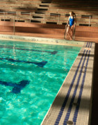 Female Swimmer At Poolside Print by Utah Images
