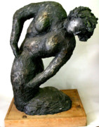 Portraits Sculpture Framed Prints - Female Torso Framed Print by Gideon Cohn