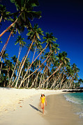 Samoa Posters - Female Tourist On Return To Paradise Beach, Upolu, Samoa, Pacific Poster by Peter Hendrie