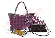 Jewelry Bag Prints - Feminine Bags Print by Eastnine Inc.