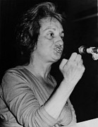 Gestures Metal Prints - Feminist Author Betty Friedan Speaking Metal Print by Everett
