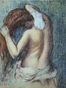 Featured Pastels Metal Prints - Femme a sa Toilette Metal Print by Edgar Degas