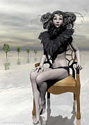 Chaise Digital Art Metal Prints - Femme Avec Chaise Metal Print by Sandra Bauser Digital Art