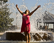Pink Dress Prints - Femme Fountain Print by Al Powell Photography USA