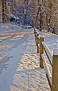 Susan Leggett Art - Fence Along Snow Covered Road by Susan Leggett